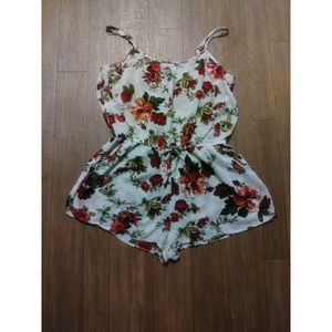 White Red Rose Flouncy Cami Romper Large 2/$15